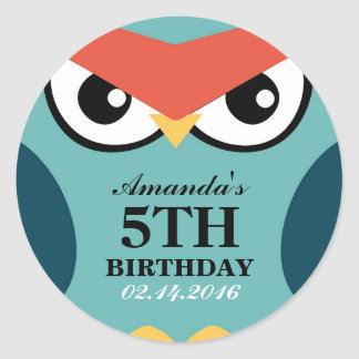 Owl Cartoon Birthday Invitation Seal Sticker