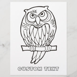 Owl Cartoon Coloring Book Page