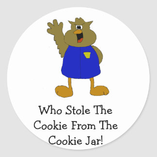 Owl Cartoon Cop Shouting Classic Round Sticker