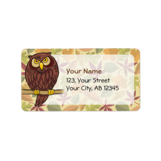Owl Cartoon Label