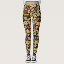 Owl Cartoon on dark background Leggings