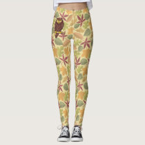 Owl Cartoon on light background Leggings