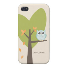 Owl Cartoon Personalized Name Tree Branch Leaves Case For Iphone 4 at Zazzle