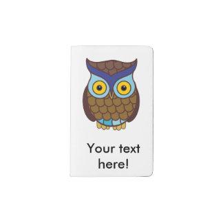 Owl cartoon pocket moleskine notebook