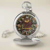 Owl Cartoon Pocket Watch