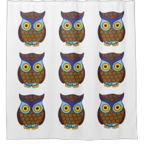 Owl cartoon shower curtain