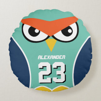 Owl Cartoon Sports Team Number Kids Round Pillow