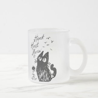 Owl Cat (Black) Frosted Glass Coffee Mug