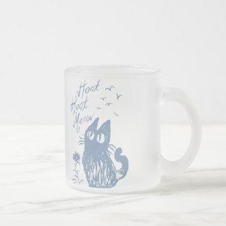 Owl Cat (light steel blue) Frosted Glass Coffee Mug
