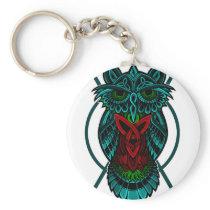Owl Celtic Geometric Keychain