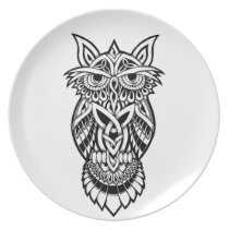 Owl Celtic Knot Plate