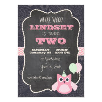 Owl Chalkboard Birthday Invitation