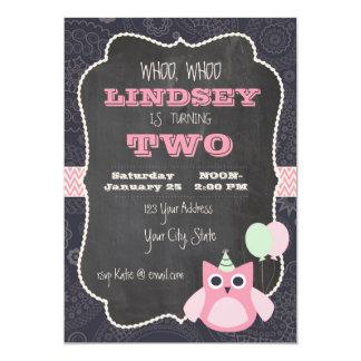 Owl Chalkboard Birthday Invitation
