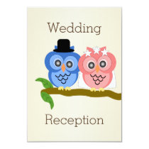 Owl Champagne Wedding Reception Card