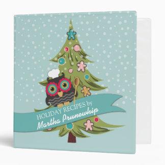 owl chef cookie Christmas tree personal cookbook Binder