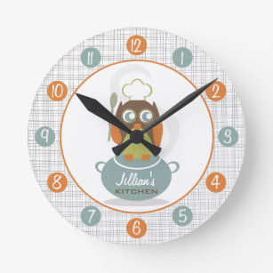 Enjoyable Owl Chef Personalized Kitchen Clock Home Interior And Landscaping Transignezvosmurscom