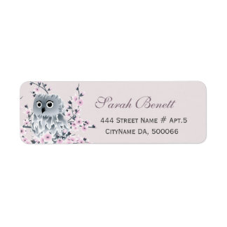 Owl Cherry Blossoms Baby Shower Label