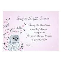 Owl Cherry Blossoms  Diaper Raffle Ticket Card
