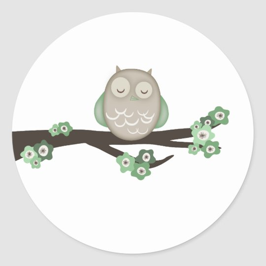 Owl & Cherry Blossoms {Green} | Stickers