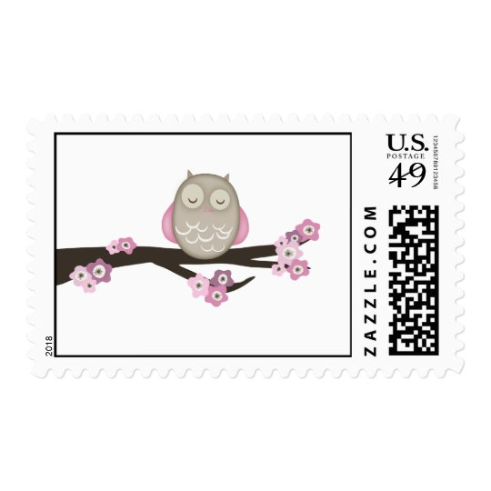 Owl & Cherry Blossoms {Pink}   Stamps