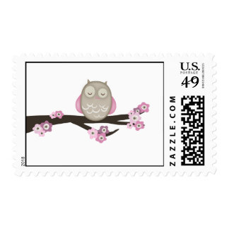 Owl Cherry Blossoms Pink Stamps
