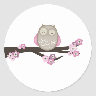 Owl & Cherry Blossoms {Pink}   Stickers