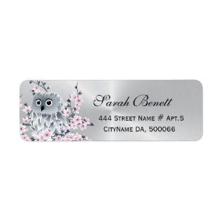 Owl Cherry Blossoms Silver Label