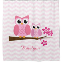 Owl Chevron Custom Personalized Shower Curtain