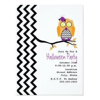 Owl Chevron Halloween Party Invitation