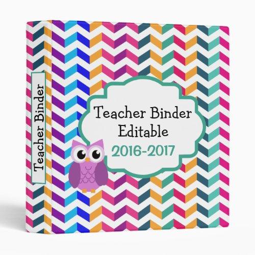 Owl Chevron Personalized Custom Teacher Binder
