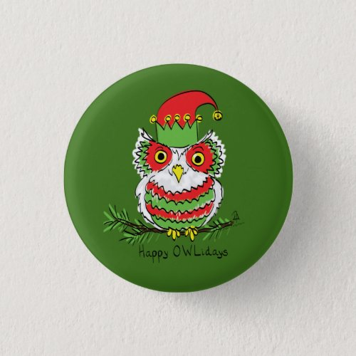 Owl Christmas Cute Funny Holiday Button