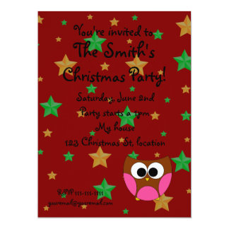 Owl christmas invitation