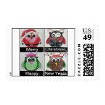 owl christmas postage