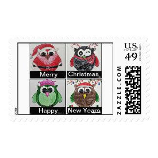 owl christmas postage stamp