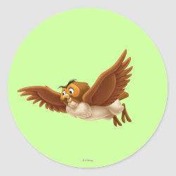 Round Sticker with Winnie the Pooh's Owl in Flight design