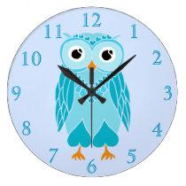 Owl Clock: Baby Blue Owl Large Clock