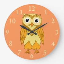 Owl Clock: Orange Owl Large Clock