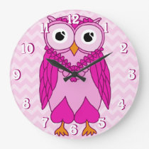 Owl Clock: Pink Chevron Owl Large Clock