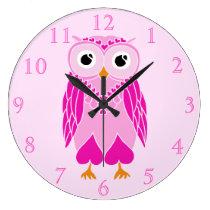 Owl Clock: Pink Owl Large Clock