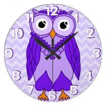 Owl Clock: Purple Chevron Owl Large Clock