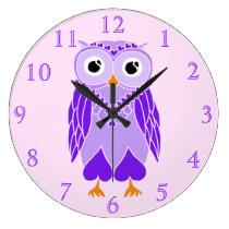 Owl Clock: Purple Owl Large Clock