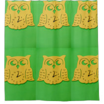 Owl clock shower curtain