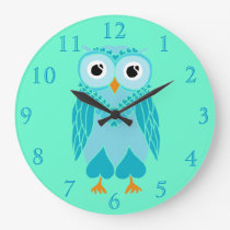 Owl Clock: Turquoise Owl Large Clock