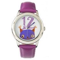 owl clock wrist watch