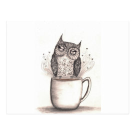 Owl Coffee Time Postcard