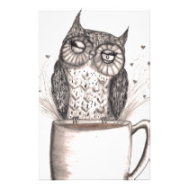 Owl Coffee Time Stationery