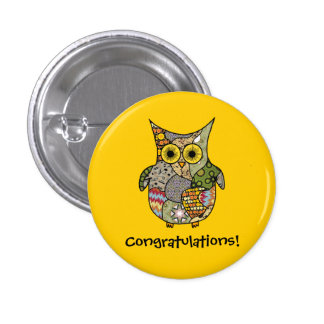 Owl Collage Pinback Buttons
