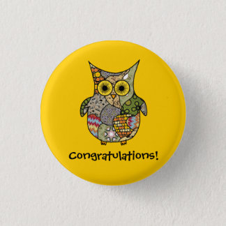 Owl Collage Pinback Button