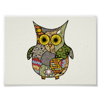 Owl Collage Poster