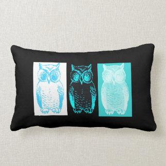 Owl Color Grid Aqua Pillow